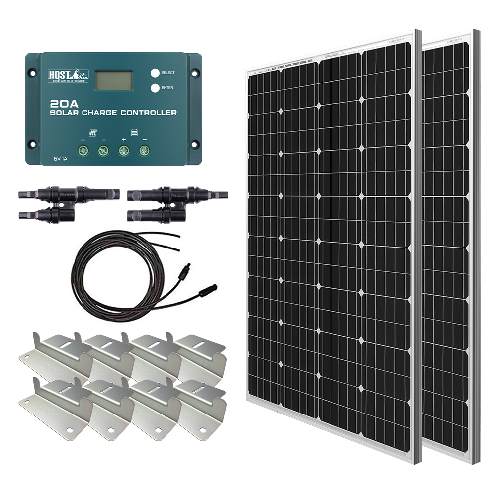 200 Watt 12 Volt Monocrystalline Solar Panel Kit with 20A PWM Charge Controller